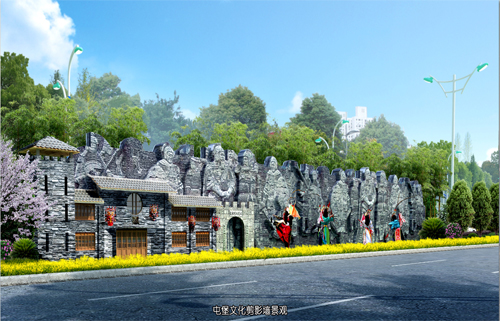 屯堡文化剪影墙景观